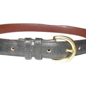 Coach Vintage Navy Leather & Brass Buckle Belt